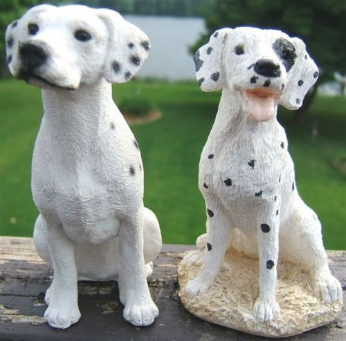 $60 Dalmation-Dog-Two-Figurines-Stone-Critters-USA-Vintage-1980s The Stone Critters Dalmatian Dog measures about 4 5/8 inches tall. The Dalmatian Dog marked KK measures about 5 inches tall.
