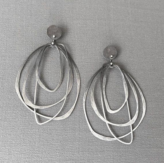 Oxidized Ombre Layered Hoops silver earrings by DevBennettJewelry