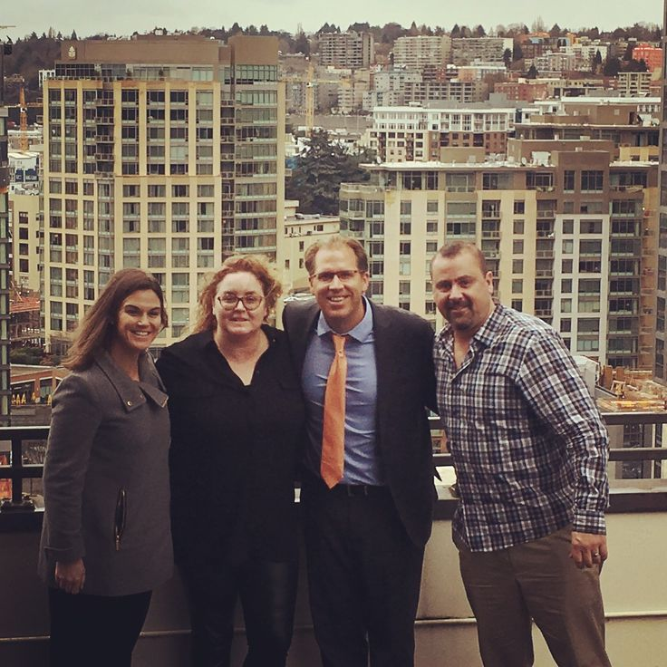 Attorneys Becki Wheeler, Ryan McNeice, Joe Murphy and Cat Clark at McNeice Wheeler's Seattle location at the Denny Building in South Lake Union.