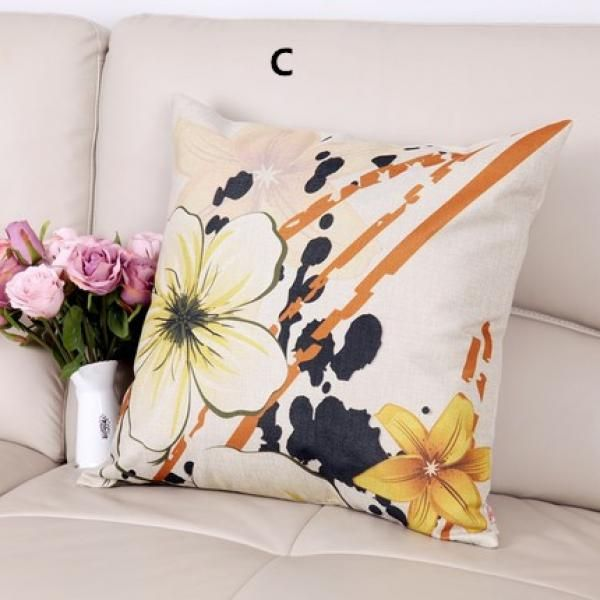 Contemporary flower white large sofa cushion for home decoration minimalist style linen square pillow