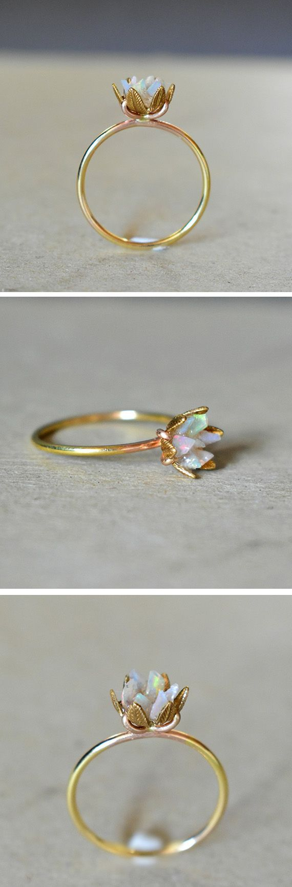 Unique Opal Ring, Lotus Flower Ring in Yellow Gold, Uncut Opal Engagement Ring, Raw Rough Fire Opal Jewelry, October Birthstone, Any Size