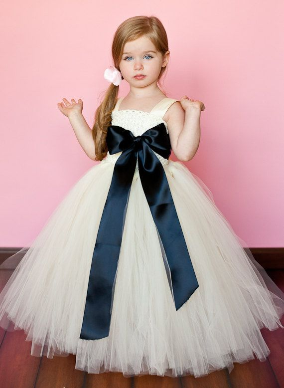 New Ivory Girl Party Dress Black Bowknot Flower Girl Dress Prom Formal Birthday Pageant Princess Tutu Dress Gowns For Baby Girl