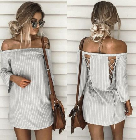 Laced Up Dress | FRONT & BACK |  Only Available in:  Grey/White as displayed  R320  | S | M | L |