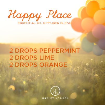 It's the weekend! Today I hope you can enjoy the glory, blessings and the happy things in your life! Here is a GREAT way to kick off the day with the Happy Place Essential Oil Diffuser Blend made with 2 drops of peppermint, 2 drops of lime and 2 drops of orange! www.hayleyhobson.com