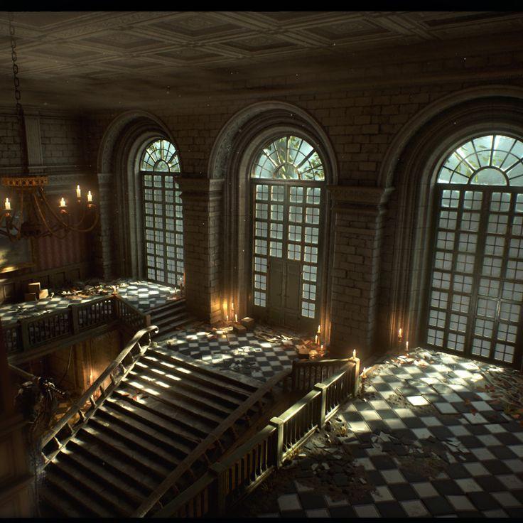 Abandoned manor Unreal Engine 4, David Garrett on ArtStation at https://www.artstation.com/artwork/B9mmm