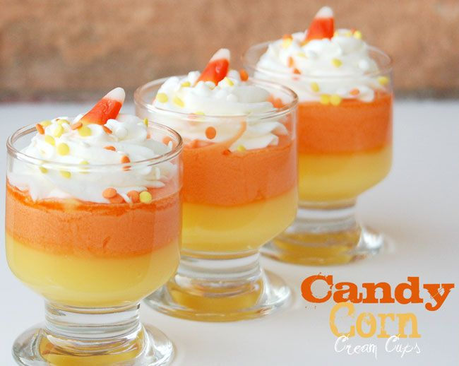 Yellow Layer  1 (3 oz.) package instant vanilla pudding  2 cups milk    Orange Layer  1 cup heavy whipping cream  1 1/2 cups candy corn    White Layer  1 cup heavy whipping cream  1/2 cup powdered sugar    Decoration  Coordinating sprinkles  1 candy corn for each cupHalloween Candies, Candy Corn, Candies Corn, Fall Treats, Candycorn, Cream Cups, Corn Recipe, Fall Desserts, Corn Cream