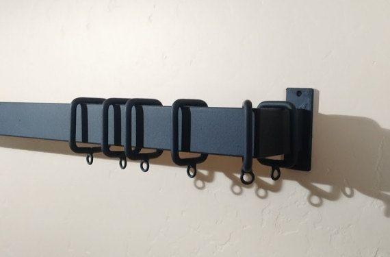 Modern Drapery Iron Rod, Eclectic Curtain Rod, Industrial Rectangular Iron Rod…
