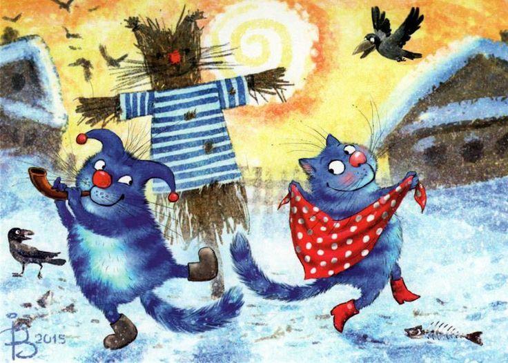 Веселые рисунки котов зимой