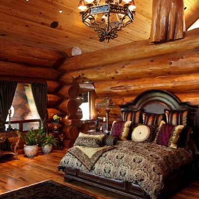 Log Home Masterbedroom Design, Pictures, Remodel, Decor and Ideas #masterbedrooms  #logcabin