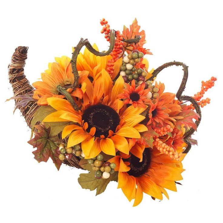 This Beautiful Harvest Sunflower Cornucopia Was Made Of