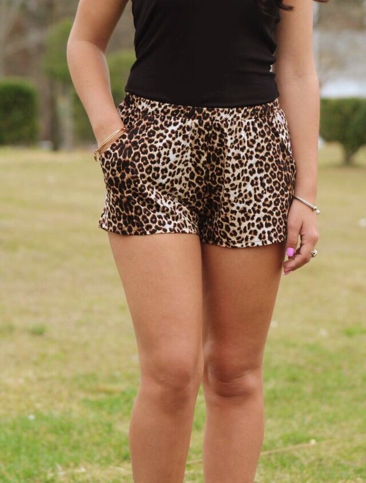 leopard Print Shorts with pockets