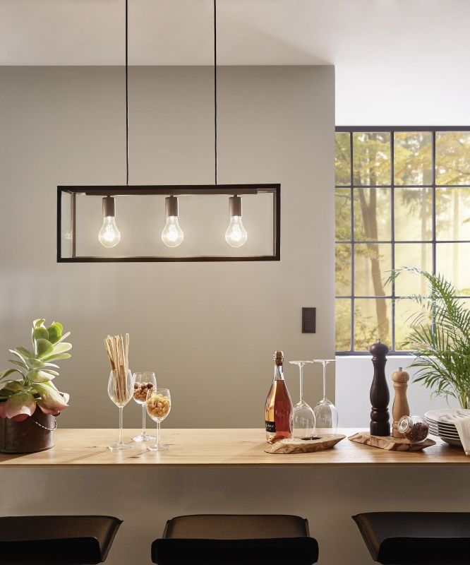 Three Bare Bulb Pendant With Steel Box Frame Perfect For Dining Room Tables Available From Lighting Styles Suppliers Of Specialist Products And