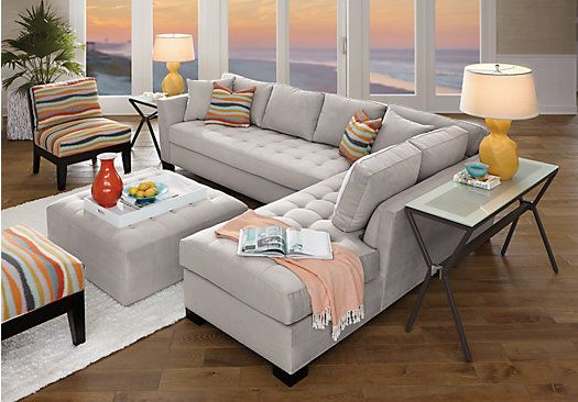 picture of Cindy Crawford Home Calvin Heights XL Platinum 2 Pc Sectional  from Sectionals Furniture