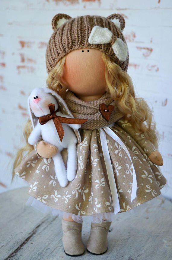 Handmade Doll Fabric Doll Tilda Doll Winter Doll Soft Doll