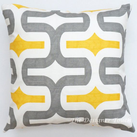 Yellow And Grey Throw Pillow Covers : Yellow Grey Decorative Pillow Cover.Geometric Throw Pillow.Yellow Toss Pillow.Gray Cushion Cover ...