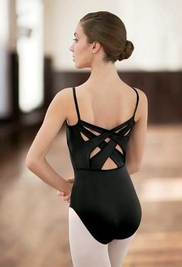 The interest is all in the back of this seemingly classic camisole leotard.