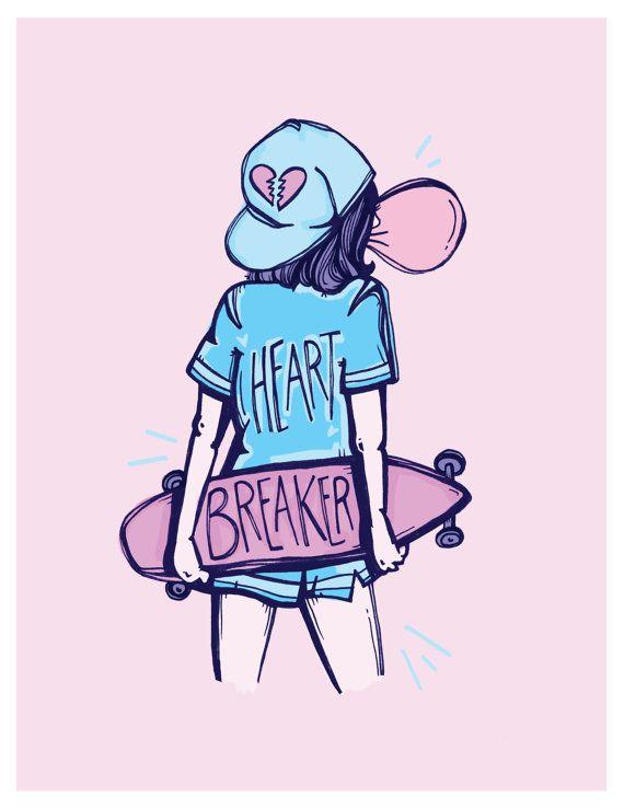 Heartbreaker Skater Girl /3 Illustrated Print by kellymalka