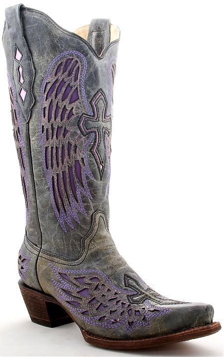 Purple Angel Wing Cross Corral Cowgirl Boots