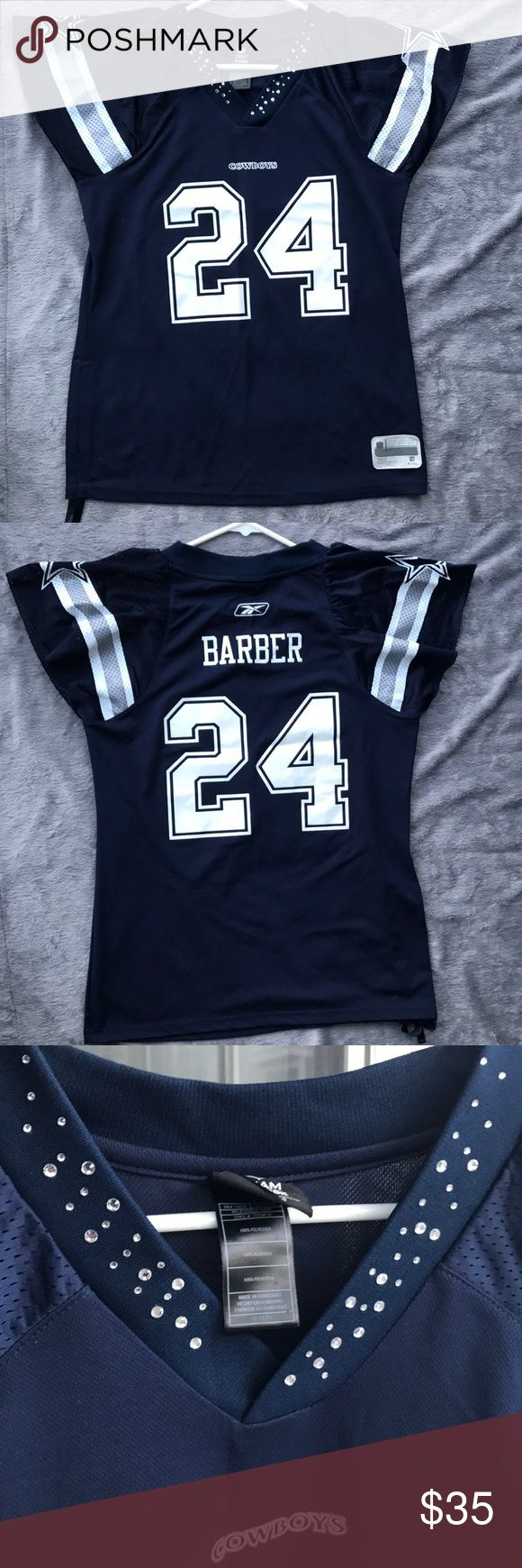Reebok Rhinestone Dallas Cowboys Jersey #24 Barber Super flirty and girly Dallas Cowboys Jersey from the NFL store by Reebok!  Rhinestones around collar. Loose, short sleeves for feminine look. Fitted shape around waist without being tight. #24 Marion Barber. Size M. Drawstring on right side to make tighter and shorter if you want to. Reebok Tops