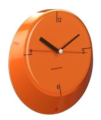Casa Bugatti Glamour zegary ścienne, kolorowe zagary, kolorowa nowoczesna kuchnia, akcesoria wyposażenie wnętrz, pomarańczowy