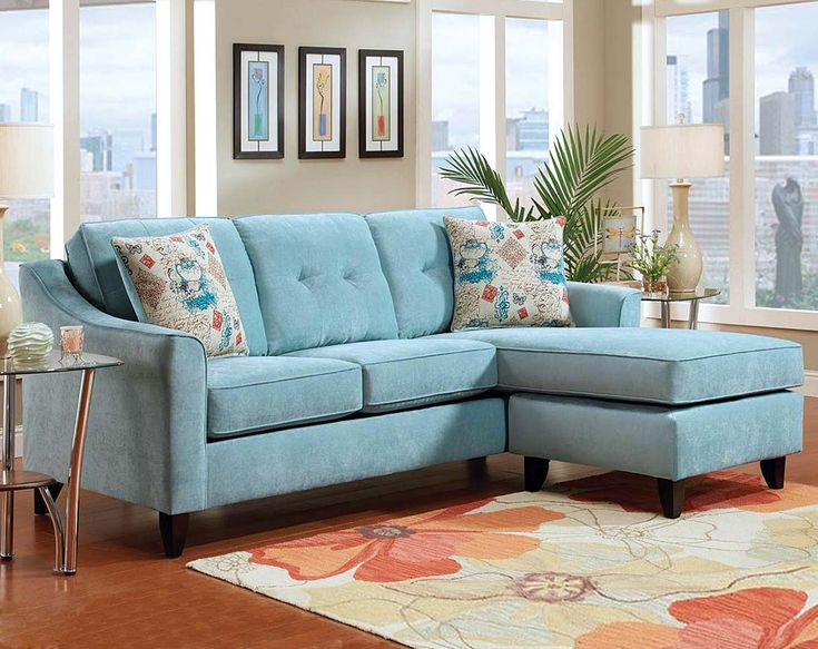 Good Teal Chenille Wrap Around Couch | Elizabeth Two Piece Sectional Sofa