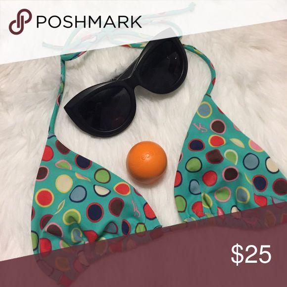 👙3 for $15👙 Printed VS Bikini Triangle Top Rainbow Polka Dot Triangle Bikini Top from Victoria's Secret. Wore twice. In excellent condition! PINK Victoria's Secret Swim Bikinis