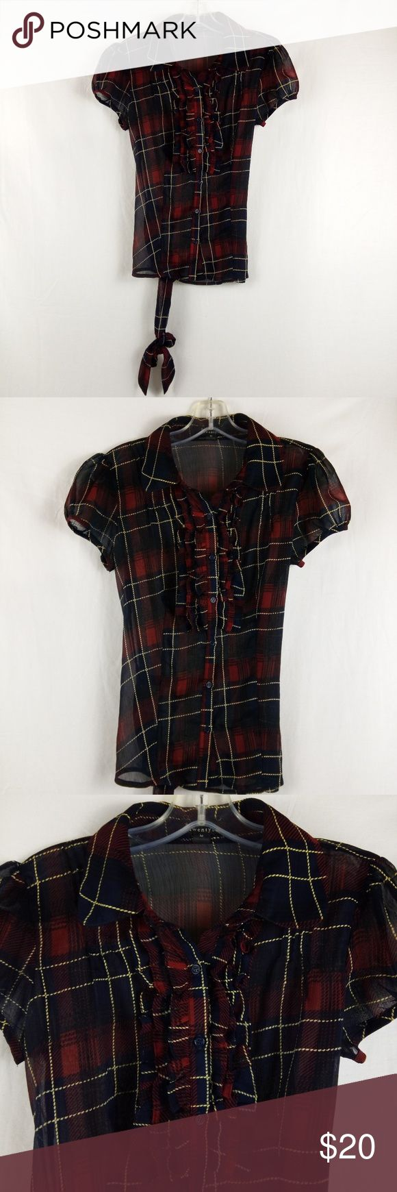 """Twenty one Blouse Size M Black Red Plaid Belt Clean very good condition.  MEASUREMENTS:  CHEST/BUST: 18""""  SLEEVE:  5.5""""  LENGTH: 24""""  We do our best to maintain quality standards during inspection before listing items for sale in our closet, so you are happy to open your Poshmark package from Shebrew Trading Store!  We ship items immediately and maintain a high satisfaction rating. Thank you! twenty one Tops Blouses"""