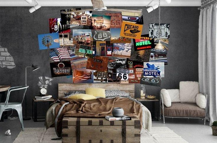poster mural à thème Route 66 dans la chambre à coucher