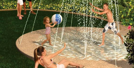 Opt for a splash pad instead of a pool. | 32 Cheap And Easy Backyard Ideas That Are Borderline Genius