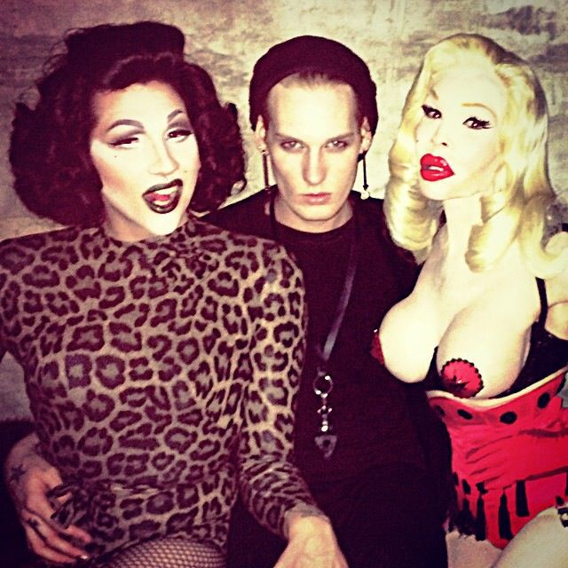 Good friends Severely Mame and Amanda Lepore at Ladyfag's weekly event, 11:11