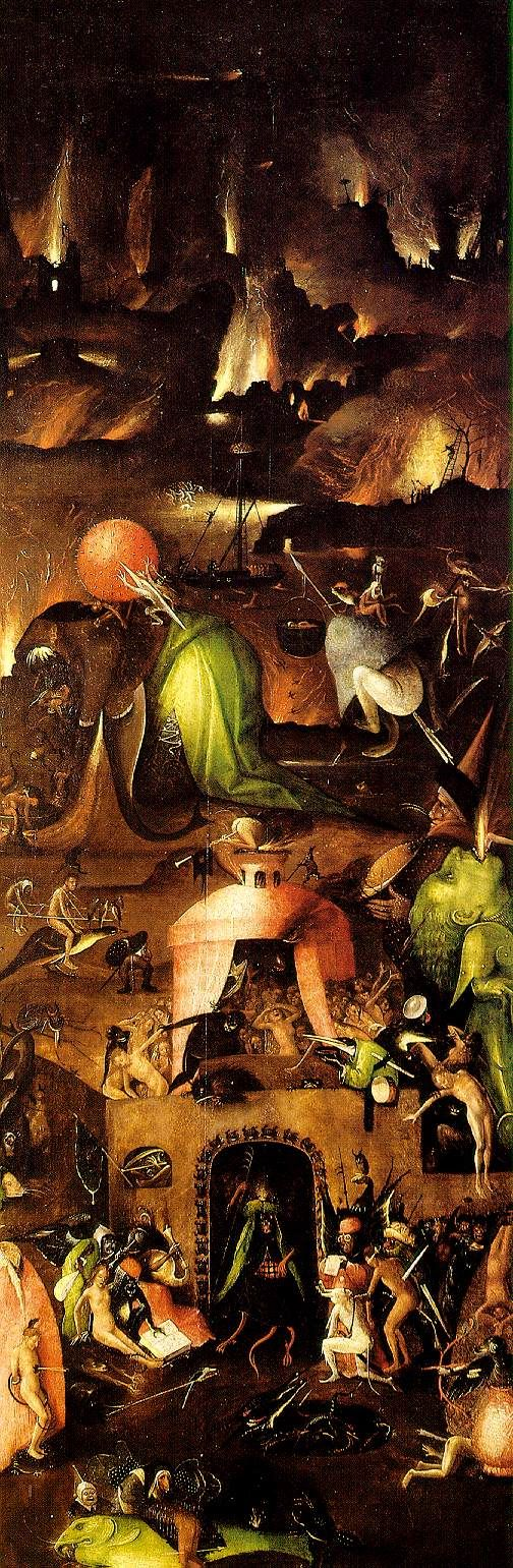 """Hell"" from The Last Judgement, right wing, oil on panel (triptych). Hieronymus Bosch"