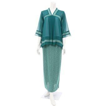 Rimba Muslim Korea Set - CT00339 (Turqoise) Top blouse (cm) Sizes S M L XL Shoulder 35 37 38 39 Bust 47 48 50 56 Sleeve length 41 41 42 42 Blouse length 70 75 76 76 ** Measurement are taken flat in centimetre, double for full body, example, bust 47 x 2=94cm , ** Allow 1-2 cm di... #bajukurung #bajukurungmoden