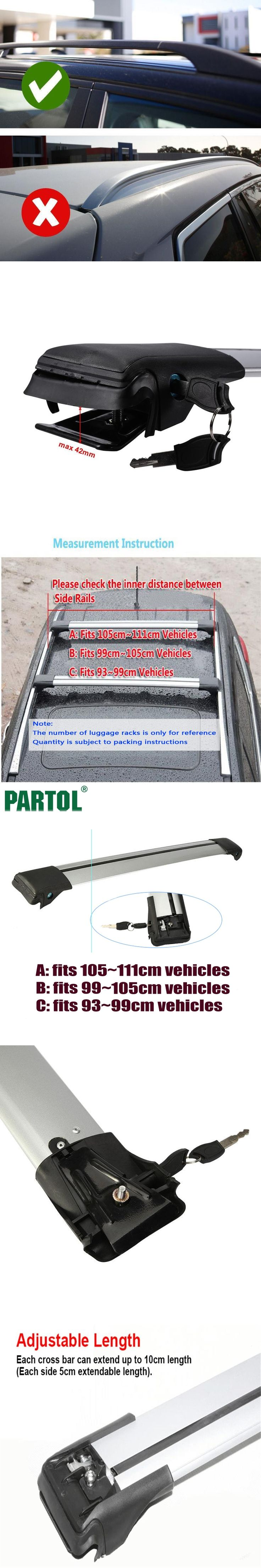 Partol 1x Car Roof Rack Cross Bar Styling Rail Anti Theft Lock