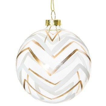 Boule de Noël motif chevrons en verre 8 cm GOLD