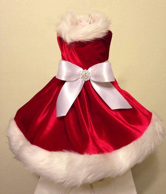 Niña de Santa perro vestido de Navidad por OurLove4Pets en Etsy
