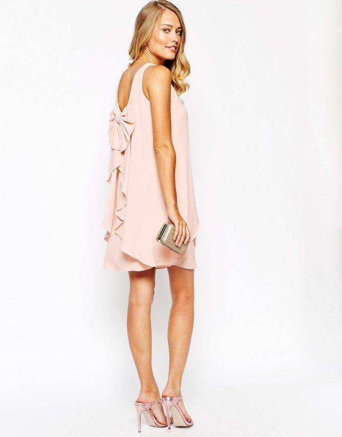 Pink bow back dress for a bridal shower