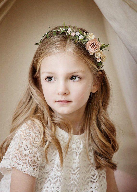 Flower girl crown, Bridesmaids Blush Flower crown Wedding