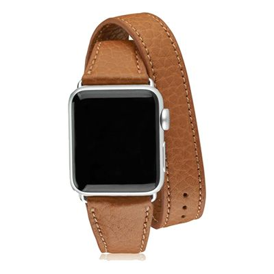 Gigi New York Double Wrap iWatch Band - leather apple watch band, leather apple watch buckle, brown apple watch band, brown apple watch buckle, brown leather apple watch band, apple watch bands.