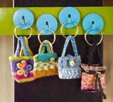 mini knit key chain bagsIdeas, Minis Keys, Keys Rings, Pur Pattern, Crochet, Knits Pattern, Bags, Crafts, Rings Purses