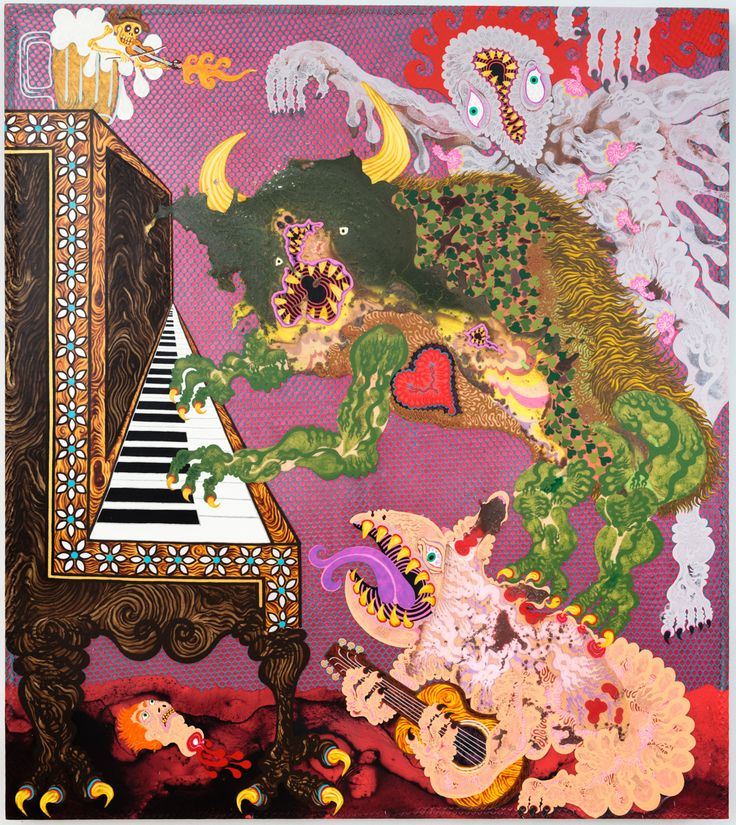 The Piano, 2014, acrylic on polyester knit mesh, 55x48 inches by AARON JOHNSON