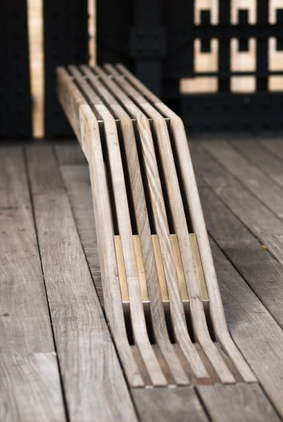 Wood Bench, different principle of many planks becoming a surface to sit