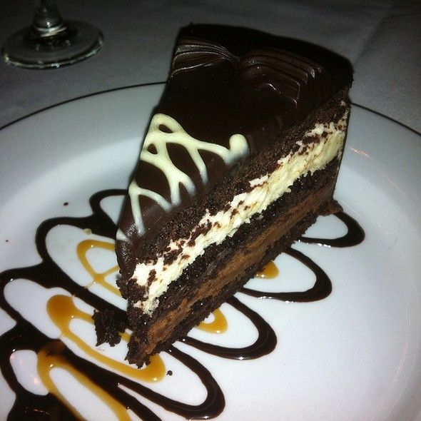 Chocolate layer mousse cake | Three Layer Chocolate Mousse Cake at Texas de Brazil in Denver, CO
