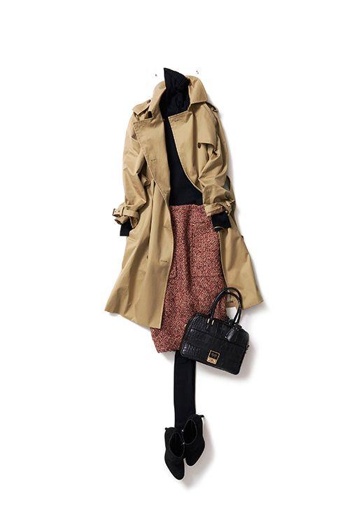 trench coat: tweed skirt + black turtleneck + tights + black booties