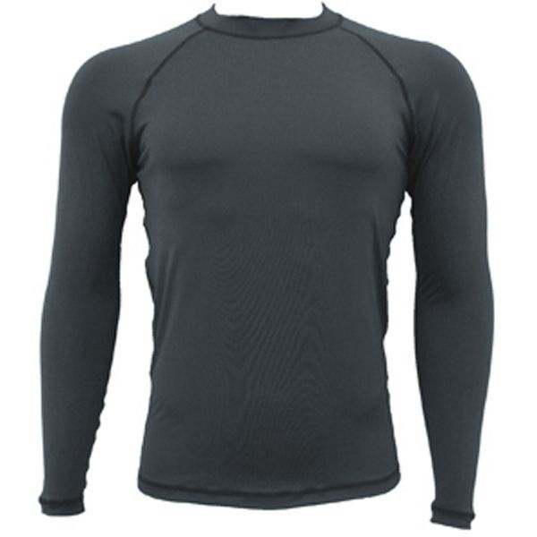 Adult long sleeve black rash guard, fast drying, 86% polyester, 14% spandex, UPF 50+ sun protection rating. Flatlock stitch. Great for recreation staff uniforms, company getaways, swim schools, team uniforms, water sport clubs, mixed martial arts, lifeguards, fitness, special events, crew wear, resort wear. Imported.