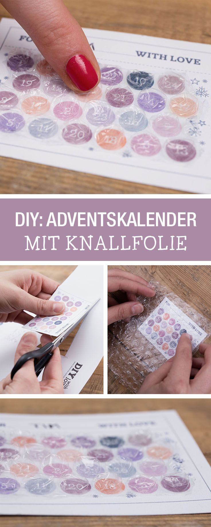 Witziger kleiner Adventskalender mit Knallfolie, kleine Geschenkidee / cute little advents calendar made with popping foil via DaWanda.com
