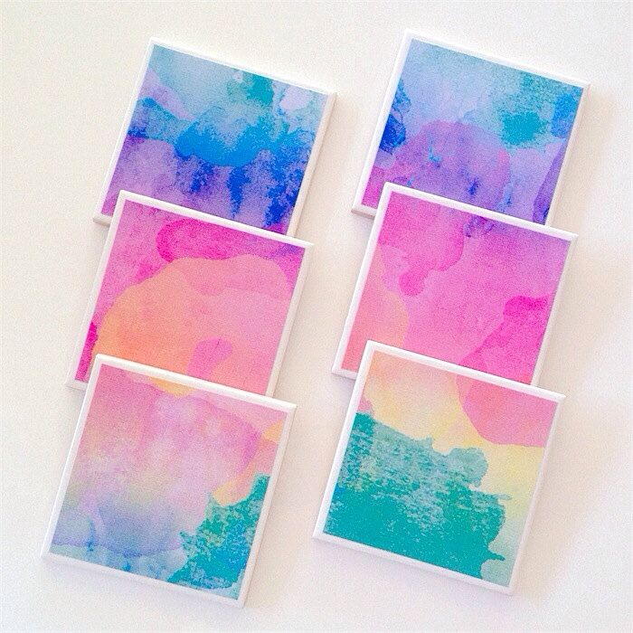 Watercolour Coasters Ceramic Tile Drink In Print Summer Colours 29 95 Aud