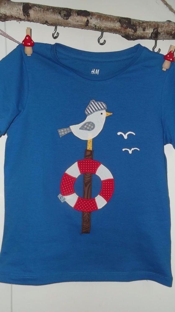 Handarbeit Shirt benäht neu Dawanda Möwe,Strand,…