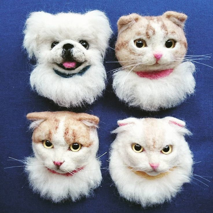 Cute Needle felted project wool animals cats dogs(Via @a_3939)