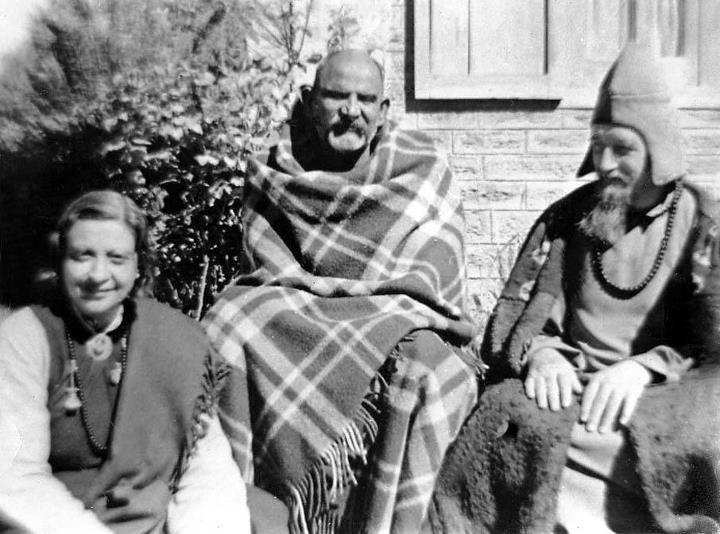 Maharajji with Lama Govinda and Mrs. Govinda.