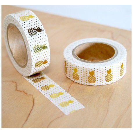 Masking tapes blanc ananas doré washi tape withe pineapple gold